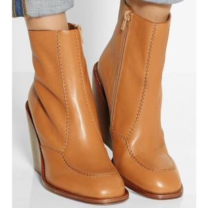 See by Chloe Tan Leather Wedge Ankle Boots Size 37